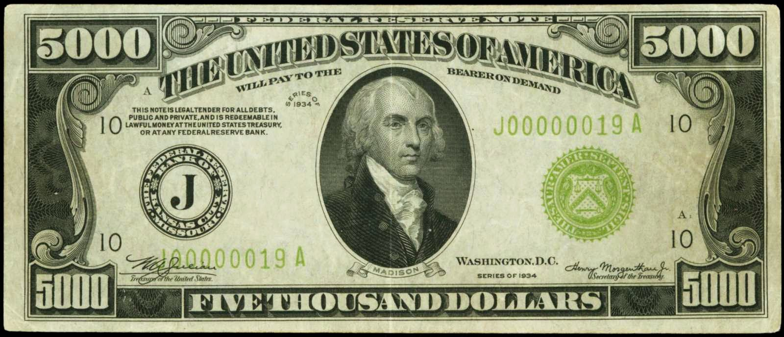 Five Thousand Dollar Federal Reserve Note