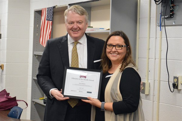 Treasurer Loftis With February Educator Of The Month Erica Williams