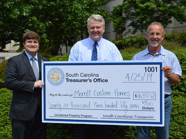 Treasurer Loftis Returns 26000 In Unclaimed Property To Piedmont Businessman With Rep West Cox