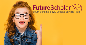 Girl Scholar with glasses against yellow backdrop with future scholar logo